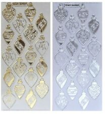 Vertical Merry Christmas word Sticker Sheet Gold /& Silver Embossed NEW