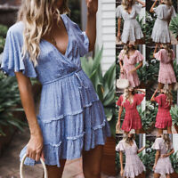 Womens Cocktail Party Sundress Short Sleeve Boho Floral Mini Dress Summer 2019