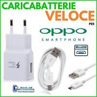 CARICABATTERIE VELOCE FAST CHARGER per OPPO A9X PRESA MURO + CAVO MICRO USB