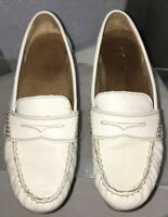 "CYNTHIA ROWLEY ""Squeeze"" White Leather Penny Loafer Driving Moc Shoes 7.5 M"