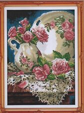 Counted Cross Stitch Kit, Roses With China And Lace
