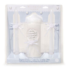 WHITE WEDDING UNITY CANDLE SET TAPPERS & PILLAR CANDLE SET BY VICTORIA LYNN