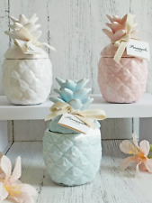 Pastel pineapple ceramic jar with candle fragrance pink blue white present gift