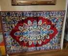 Vintage Tapestry Wall Hanging Rug Burgundy Floral Crushed Velvet