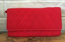Vera Bradley CLASSIC RED Microfiber Organizer Clutch Wallet w/ Wristlet Strap