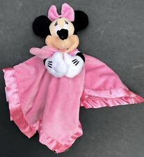Disney Store Minnie Mouse Pink Lovey Plush Soft Baby Security Blanket w/ Rattle