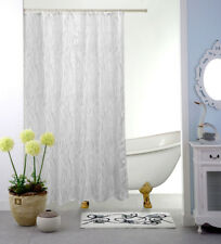 """Fabric Shower Curtain, White and Grey Abstract, Water Repellent, 70""""x70"""", Dani"""