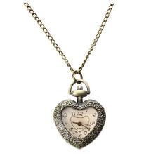 Pendant Quartz Movement Pocket W Q2X5 Vintage Antique Heart Shape Necklace Chain