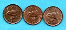 More details for 3 x 1956 farthing coins. elizabeth ii. scarce, key date. high grade. job lot.