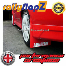 rallyflapZ Mitsubishi Evo 5-6 Qty4 Mudflaps & Fixings Red Ralliart White 4mm PVC