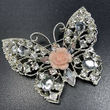 "Vintage High End Brooch Pin 2.5"" Butterfly Ceramic Pink Rose Rhinestones Lot4"