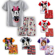 Kids Boy Girl Minnie Mickey Mouse Short Sleeve T-Shirt + Shorts Pyjamas Pjs Set