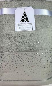 Deocorative Hand Towel Set Embellished w/Rhinestone Border Cotton Gray