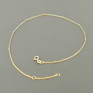 14K YELLOW OR WHITE .85MM ROUND CABLE wBOX STATIONS ADJUSTABLE ANKLET