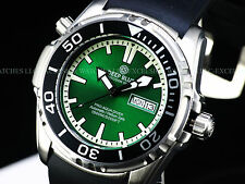 New Deep Blue 45mm Pro Aqua Automatic Sapphire Crystal 1500M Green Dial SS Watch