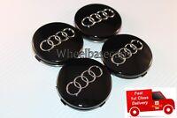 4x AUDI Black ALLOY WHEEL CENTRE CAPS 60MM FIT:  TT RS Q3 Q7 A1 A2 A3 A4 A5 A6