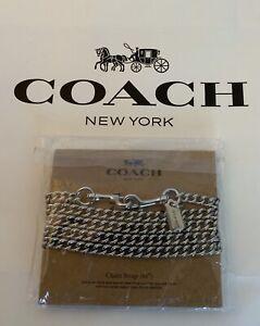"""COACH F31126 Shoulder Crossbody Stylish Clasp Chain Strap 46"""" Metal Silver NWT"""