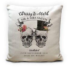 "Personalised Wedding Skulls Cushion Cover - Mr Mrs Gothic Home Decor Gift 16"""