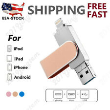 3 In 1 OTG USB Lightning Micro USB Flash Drive 64-512 GB Memory Thumb Pendrive