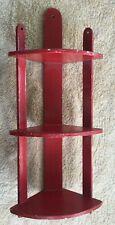 Fantastic Vintage Red Kitchen Wooden Corner Shelf
