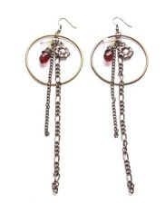 Splendid Diamante Flower Red & Clear Crystal/Bronze Chain & Hoop Earrings(Zx290)