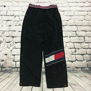 Vintage Tommy Hilfiger Athletics Men's Pants Tearaway Drawstring Flag Black L
