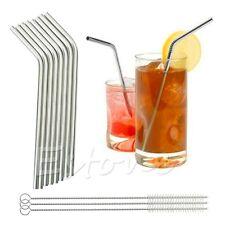 8 Pcs Stainless Steel Metal Drinking Straw Straws + 3 Cleaner Brush Kit New