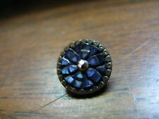 ANTIQUE VICTORIAN CARVED BLUE MOTHER OF PEARL ABALONE CUT STEEL SEWING BUTTON