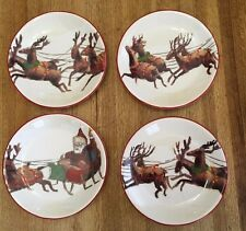 "WILLIAMS SONOMA Santa & His Reindeer Plates 8.25"" Sleigh Snow Holiday 2011"