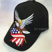 BALD EAGLE W/AMERICAN FLAG PATRIOTIC EMBROIDERED BASEBALL CAP HAT HT-4 BLACK -SA