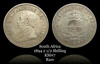 1894 South Africa 2 1/2 Shilling, Silver, KM#7  RARE, low mintage.