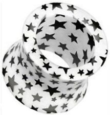 NEW & SEALED -  12mm unique black & white star  Ear Tunnel Plugs Plug screw fit