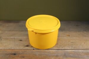 Vintage Tupperware Yellow Container 13x10.5cm - With Lid - Made in Great Britain