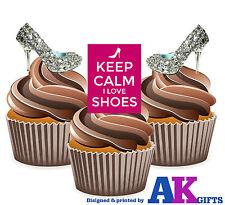 Plata Love Shoes Tacones Altos Mix 12 Comestible Cup Cake Toppers Decoraciones señoras