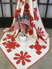 A Patriot Celebration! c 1890 Red Cutwork Applique Antique QUILT