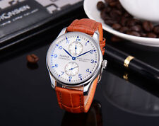 43mm Parnis silver white dial Power Reserve automatic men Watch Leather strap
