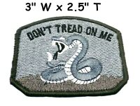 DON'T TREAD ON ME GADSDEN FLAG PATCH AMERICAN BLACK EMBROIDERED HOOK SUBDUED