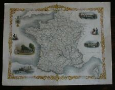 Tallis Map of France hand coloured published 1851
