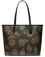New Coach 78282 Reversible City Tote Signature Coated Canvas handbag Tulip Black