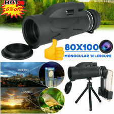 80X100 Zoom HD Lens Prism Monocular Telescope+Phone Clip+Tripod Outdoor Hiking v
