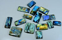 15Pcs Natural Multi Flash Labradorite Octagon Cabochon Loose Gemstone 500Crt Lot