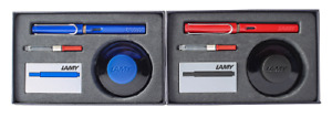 Lamy Safari Fountain Pen Blue or Red - Ink Bottle Gift Set - Limited Edition