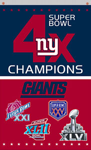 New York Giants football 4x Champions Memorable flag 90x150cm 3x5ft Best banner