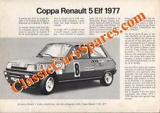 Brochure Depliant Renault 5 Alpine Coppa e R5 Kit 1977 Italiano Rarissima!