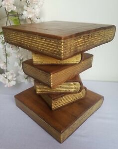 Book Stack Table/Waxed-Gold/Hand Carved/Solid Wood/Lamp Table/Plant Stand 12""