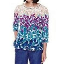 Alfred Dunner shirt size  Large L     Teal, Purple and Tan Leaves