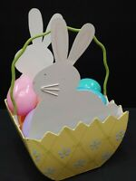 Metal Easter Basket White Bunny Sides Yellow Bin Blue Flowers +12 Plastic Eggs