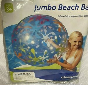 Vintage 35 Inch Jumbo Beach Ball Inflatable Clearwater NEW