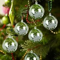 5xClear Plastic Balls Baubles Sphere Fillable Christmas Home Tree Decor M3K5