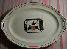 """Harker Pottery Red Fireplace Silhouette 13 1/4"""" Oval Platter"""